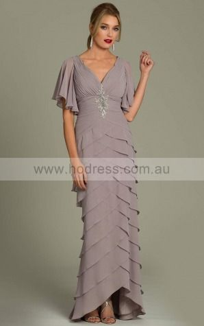 Sheath V-neck Empire Half-Sleeves Floor-length Evening Dresses zgh077--Hodress