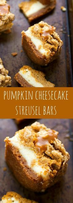 Delicious pumpkin cheesecake bars — two layers of cheesecake on a delicious cinnamon graham cracker crust all topped with an easy streusel and caramel sauce.