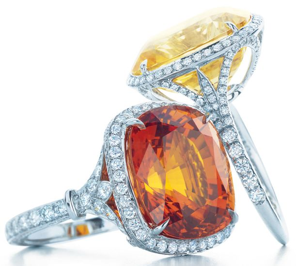 Two gemstone and diamond rings by Tiffany & Co.; one with a yellow sapphire and one with an orange sapphire. From the 2013 Tiffany & Co. Blue Book Collection.