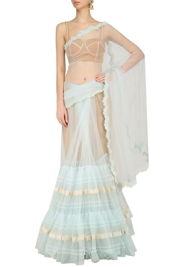 ARCHANA RAO Powder Blue Lace Work Two Tiered Saree. #archanarao #perniaspopupshop #happyshopping #shopnow #lace #saree #traditional #indiandesigner#ethnic #festive
