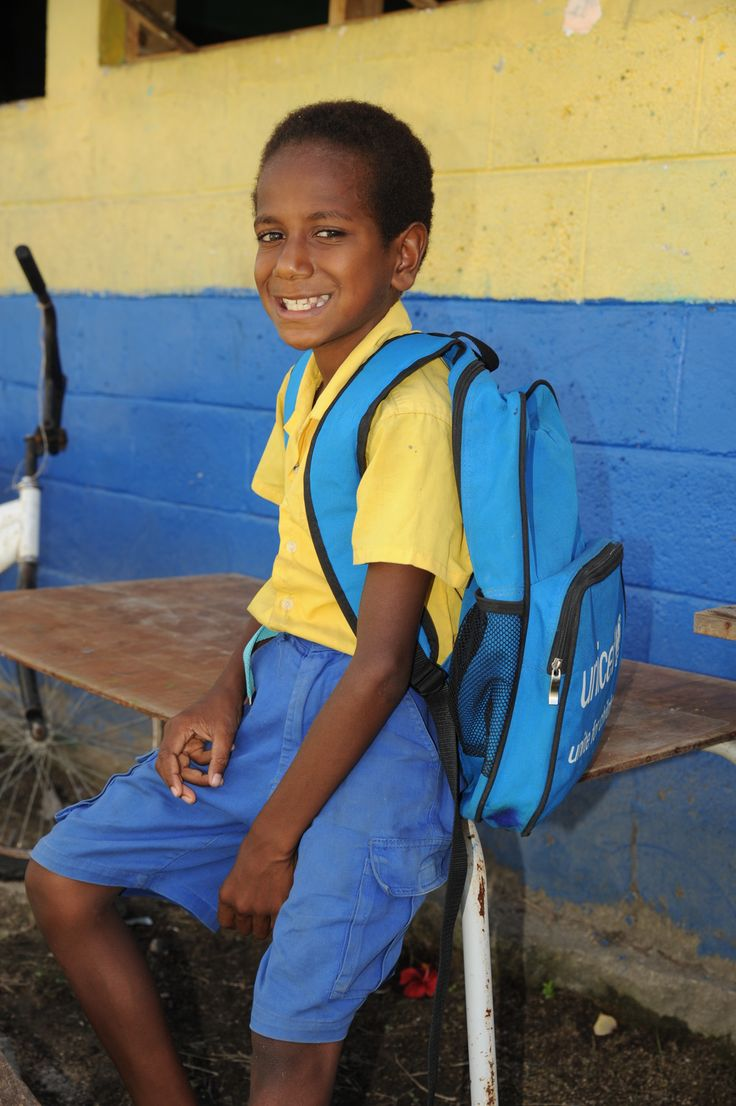 Jojo talked excitedly about his backpack, colours and pencils inside it that he received from UNICEF when he returned to school after Cyclone Pam in Vanuatu. He said that children playing is a good way to get over stress from a catastrophe like Pam. #SurvivalGifts