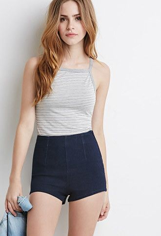 High-Waisted Denim Shorts   Forever 21 - 2000096574