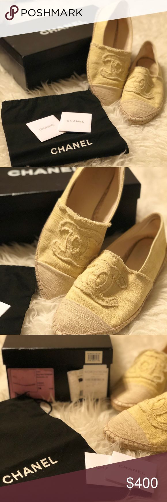 Chanel Espadrilles Pre-Loved Chanel Espadrilles Yellow and white In great condition Original tags, box, and dust bag  Paid $450 Will accept reasonable offers Size 38 but fits like a 37 Purchased from Nordstrom 2013 CHANEL Shoes Espadrilles