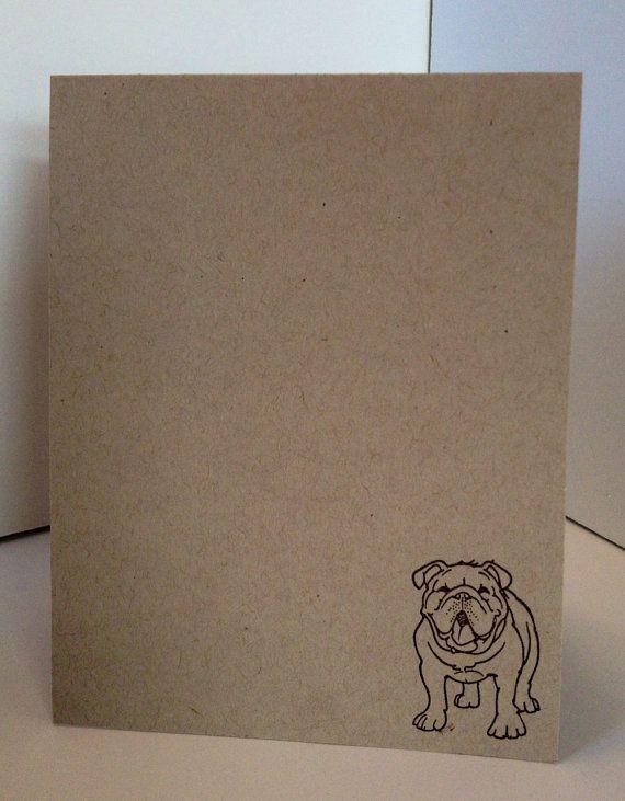 English Bulldog Hand Stamped Card Set of 4/ by lastsummertreasures, $5.00
