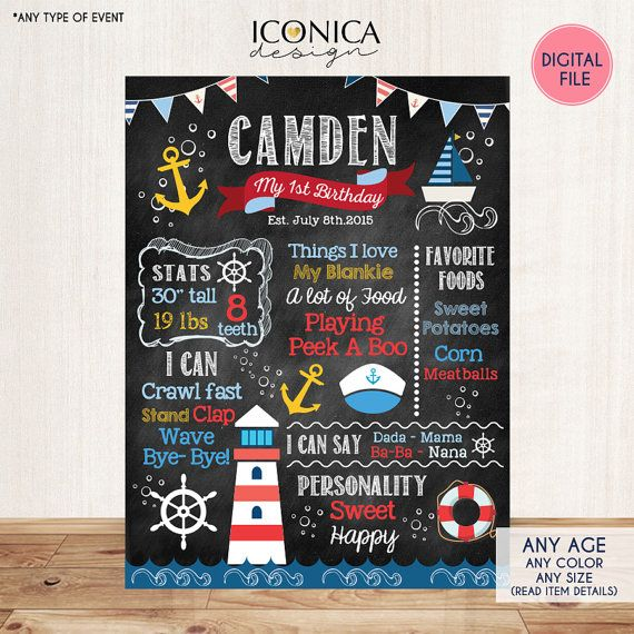 Nautical Chalkboard Sign First Birthday Poster or by IconicaDesign
