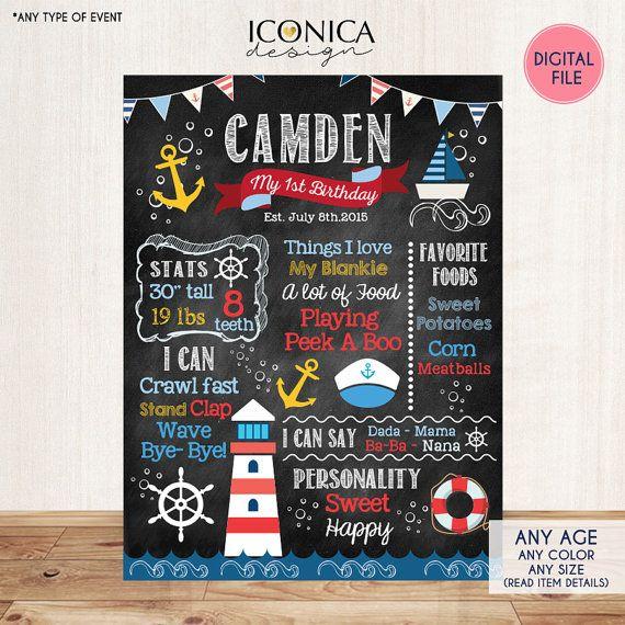 Nautische Tafel Zeichen zum ersten Geburtstag von IconicaDesign                                                                                                                                                                                 Mehr