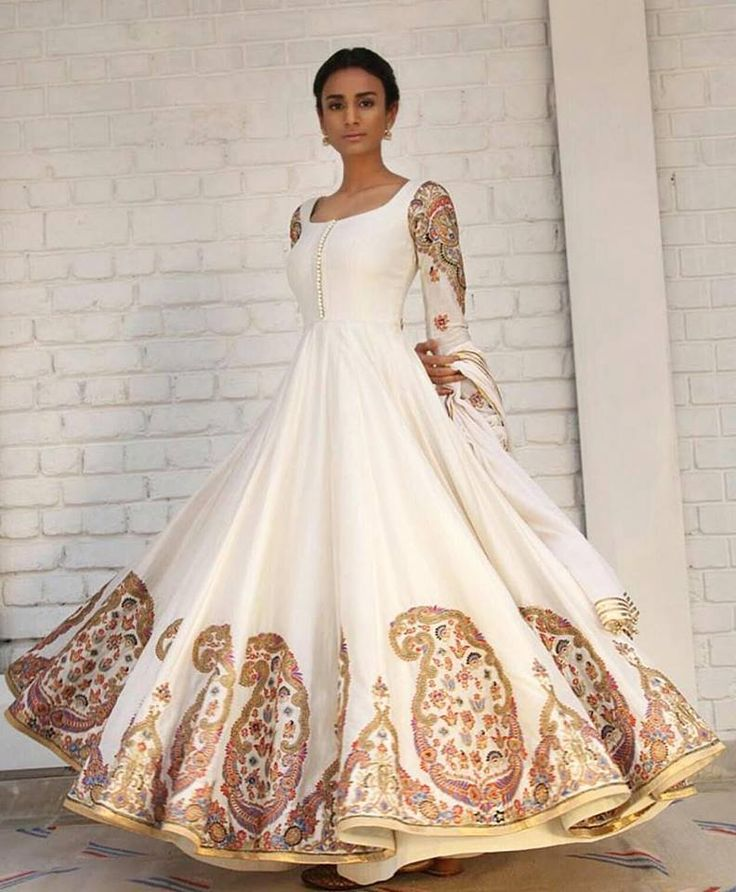 Embroidered Off White Anarkali