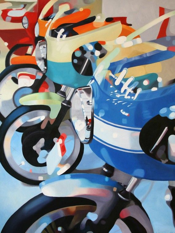 Art print of the motorcycle painting  Ducati Line by MotoPainter, $58.00    Cool for a little boys room