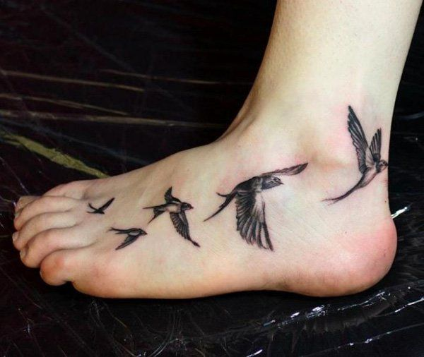 Foot Realistic Swallow Tattoo - 50 Lovely Swallow Tattoos  <3 <3