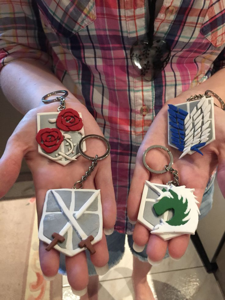 Attack on titan key chains made out of polymer clay by my daughter.