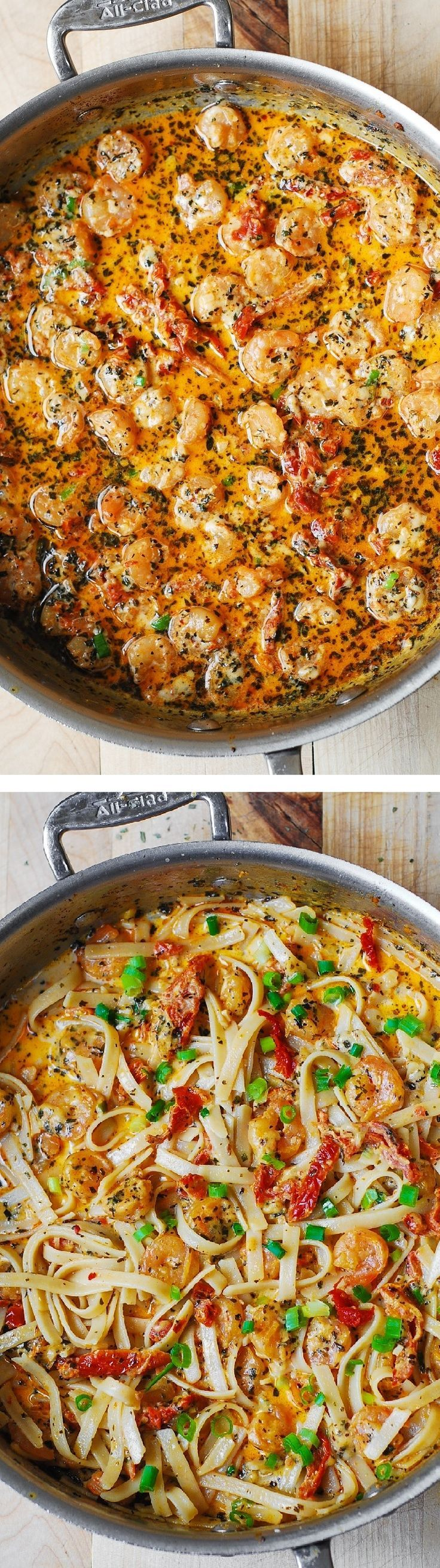 Garlic Shrimp and Sun-Dried Tomatoes with Pasta in Spicy Creamy Sauce, spiced up with basil and crushed red pepper. Italian comfort food that's super easy to make! JuliasAlbum.com #dinner #seafood #sh