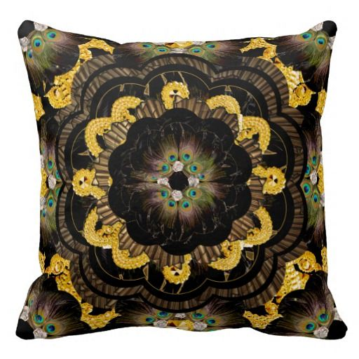 Pillow | Black Gold Hippy Mandala peacock feathers