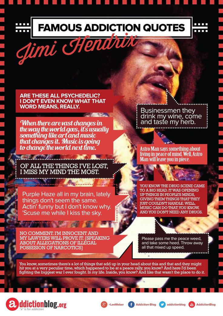 Jimi Hendrix quotes on drugs and alcohol (INFOGRAPHIC) #jimi #hendrix #drug #addiction http://singapore.remmont.com/jimi-hendrix-quotes-on-drugs-and-alcohol-infographic-jimi-hendrix-drug-addiction/  # Get Help Today! Addiction Helpline Available 24/7. HOW OUR HELP LINE WORKS For those seeking addiction treatment for themselves or a loved one, the AddictionBlog.org helpline is a private and convenient solution. Caring advisors are standing by 24/7 to discuss your treatment options. Calls to…