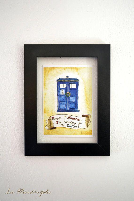 Doctor Who Tardis Chistmas Postcard Geek Nerd Card by Mandragola #tardis #doctorwho #geek #nerd #postcard #doctor #police #blue #italiasmartteam #shopping #etsy #etsyshop #giftidea #handmade