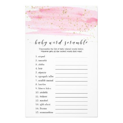Watercolor Pink and Gold Baby Word Scramble Game Flyer - script gifts template templates diy customize personalize special