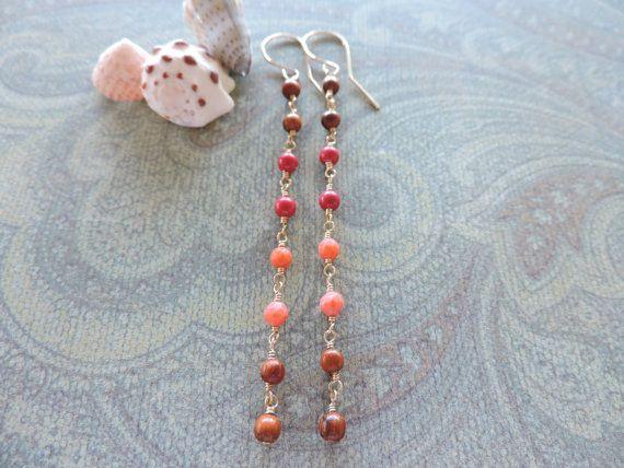 Oceanside color block earrings  long wire wrapped by tarahawaii