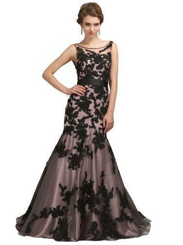 COCOMELODY Women's Trumpet Mermaid Sweep Brush Train Lace Evening Dress B12220DE 2 COCOMELODY