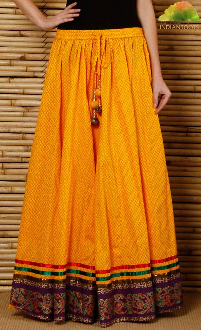 Yellow Hand Block Printed Cotton Skirt by 9rasa on Indianroots.com
