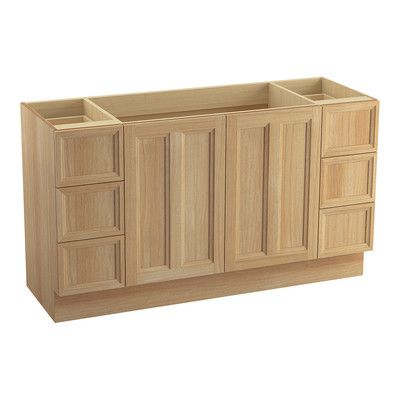 Photo Image Kohler Damask Vanity with Toe Kick Doors and Drawers Split Top Drawers Finish Khaki White Oak