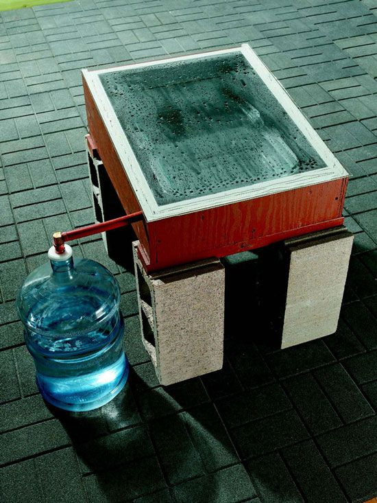 How to Make a Solar Still.   Make your own distilled water from stream or lake water, salt water, or even brackish, dirty water, using these DIY Solar Still plans. With just a few basic building materials, a sheet of glass and some sunshine, you can purify your own water at no cost and with minimal effort.  Could be used in Haiti???