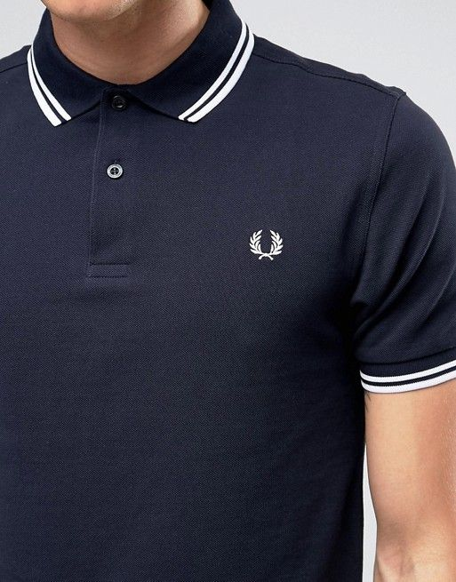 Fred Perry | Fred Perry Slim Fit Polo with Twin Tipped in Blue