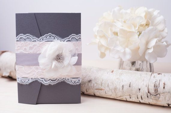TAWNIE: Blush and Gray Shabby Chic Pocketfold by peachykeenevents