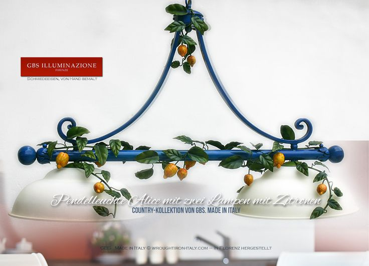 Pendelleuchte Alice mit zwei Lampen mit Zitronen  Hängeleuchte mit zwei Lampen, Zitronen, Schmiedeeisen, von Hand bemalt, Milchglas, Antiklack. Country-Kollektion von GBS. Made in Italy