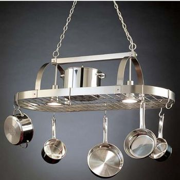Lighted Pot Racks - Hanging Pot Racks with Downlights by Steel Worx | kitchensource.com