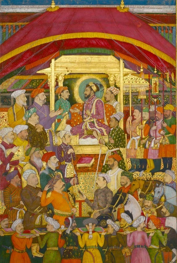 Mughal Indian Miniature Painting of Shah Jahan at court