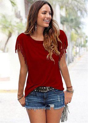 Z&KOZE 2017 New Summer Plus Size Tassel t-shirt Women T Shirts Short Sleeve Tops Tees Tshirt Fashion For Women Sexy Blusas