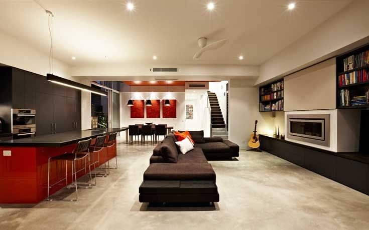 Open Concept Living Room in South Yarra House by LSA Architects