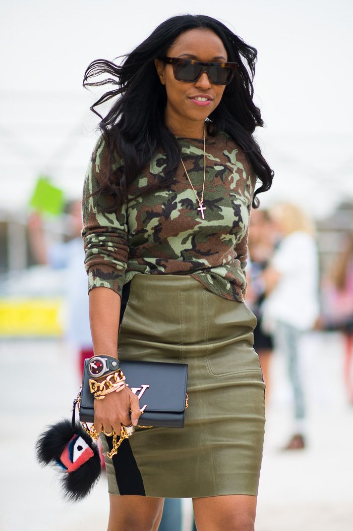 #StyleTip: Wear a long-sleeve camouflage shirt with a leather pencil skirt for a modern take on office attire.
