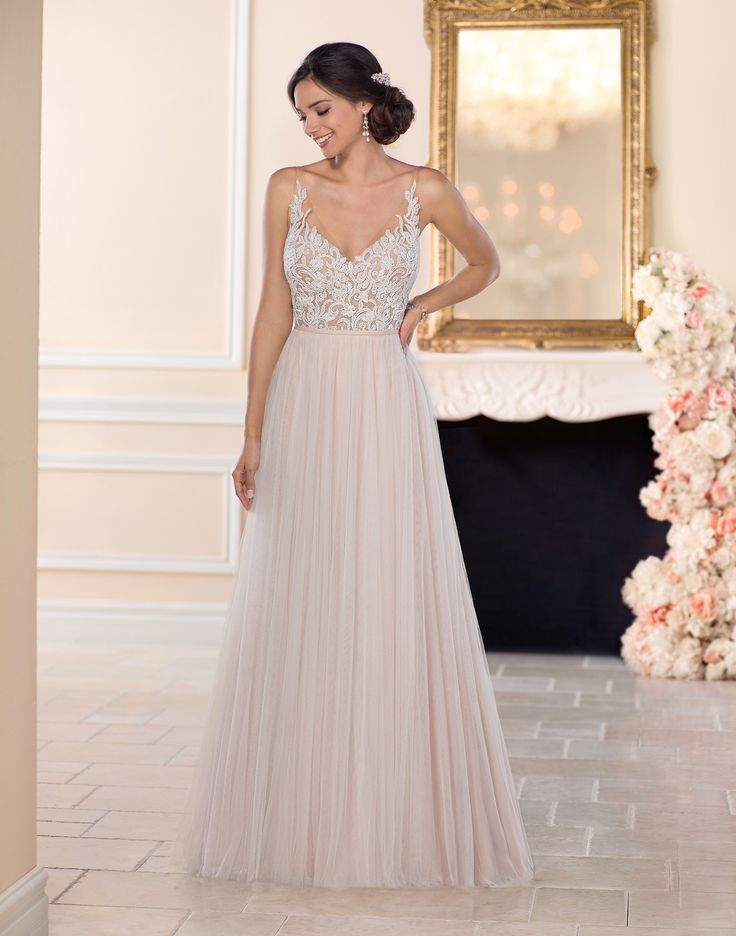 6555 // A soft, romantic and light-as-air boho wedding dress with a pearl beaded bodice.