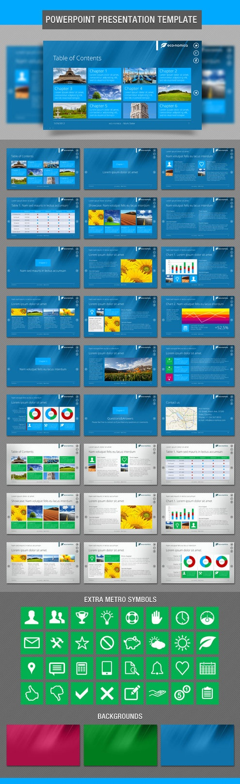 Metro style PowerPoint Presentation Template