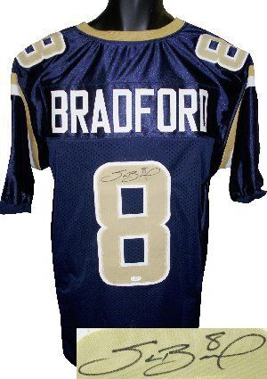 Sam Bradford signed St. Louis Rams Navy Prostyle Jersey- JSA Hologram . $290.70. Sam Bradford played college football at Oklahoma and won the Heisman Trophy. He was the first overall pick in the 2010 NFL Draft by the St. Louis Rams. It was the first time the Rams selected a quarterback in the first round of a draft since since the 1964 NFL Draft. Bradford is the first No. 1 pick out of Oklahoma since Billy Sims was selected top overall by the Detroit Lions in the 1980 NFL Draft....