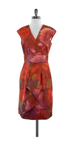 Lela Rose Floral Print Silk Blend Dress