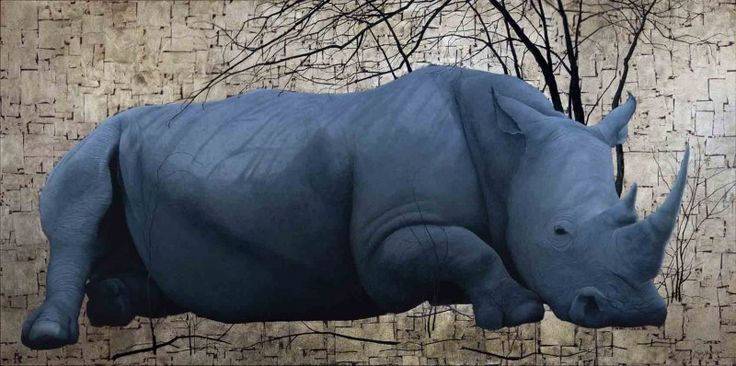 """""""White Rhino"""", Oil and Gold Leaf on Canvas, 100cm by 200cm, (2012) by Marc Alexander"""