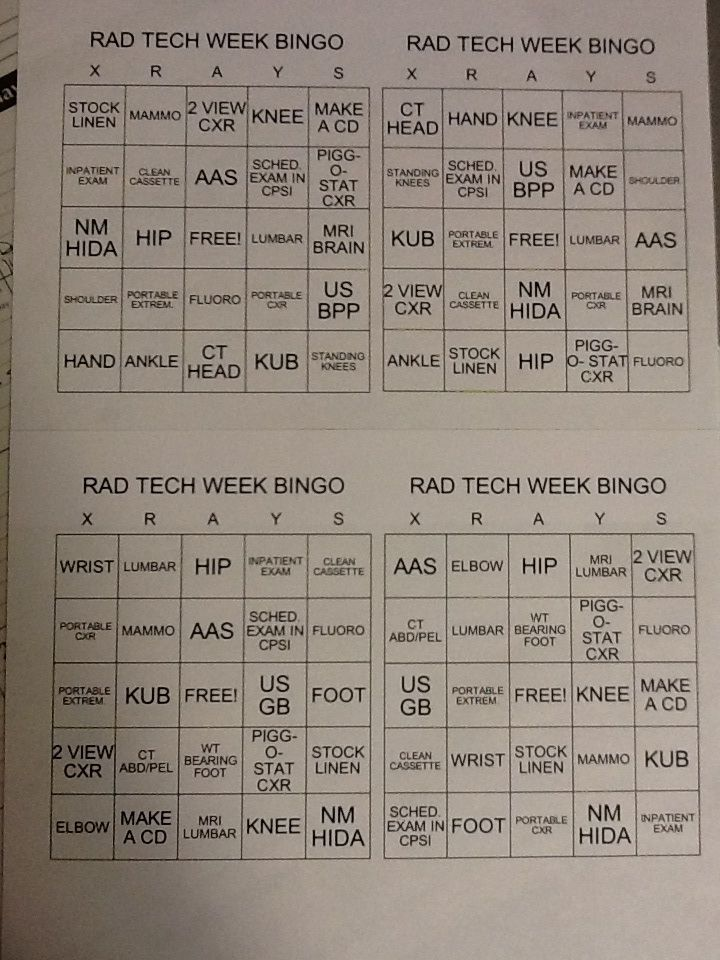 Play bingo with the exams you do throughout the day! First to bingo wins a prize!