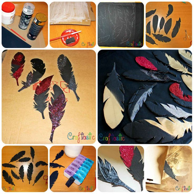 Fake glitter and golden cardboard feathers DIY - easy and cheap