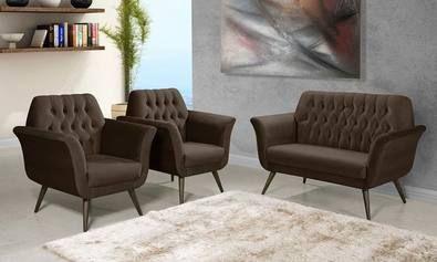 Conjunto para Sala de Estar com Sofá/Namoradeira e Poltronas Baren Marrom Escuro - Atraente Móveis