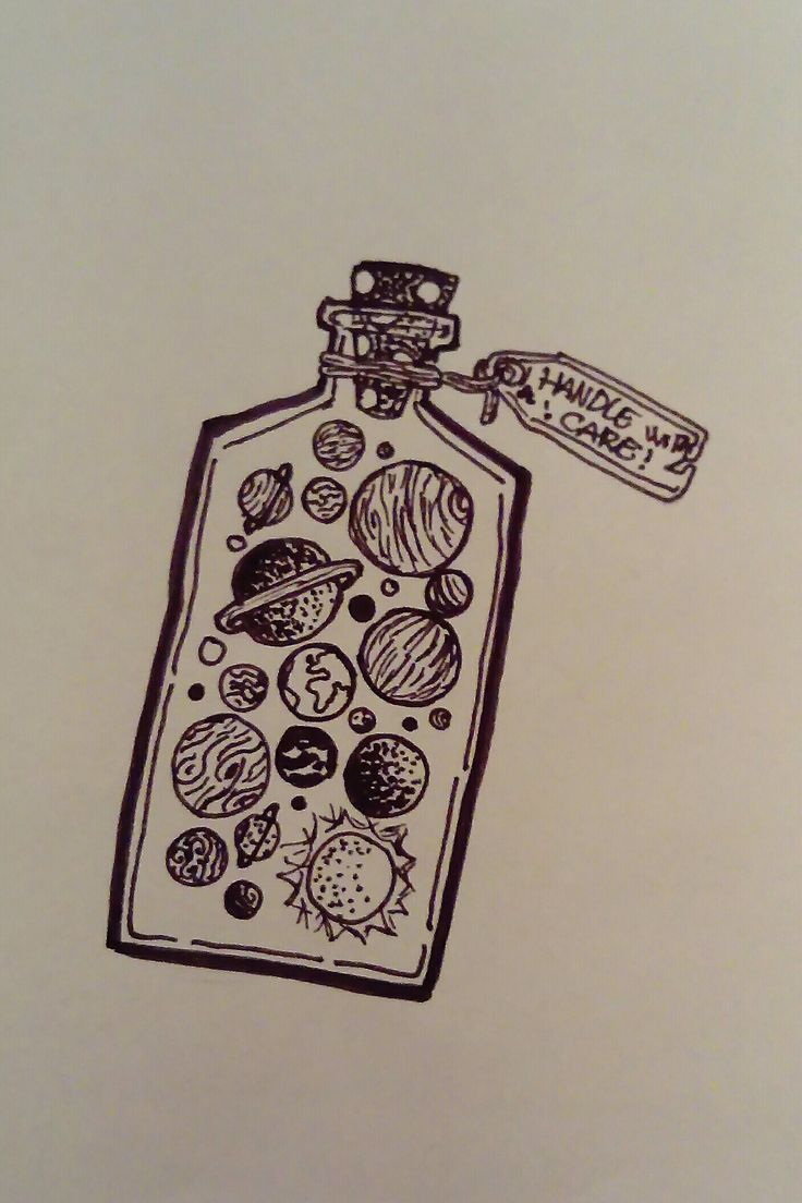 ,, handle with care'' planets in a bottle drawing