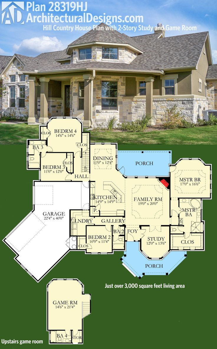 Architectural Designs House Plan 28319HJ has a 2-story study and an upstairs game. Over 3,000 square feet of indoor living plus porches front and back. Ready when you are. Where do YOU want to build? #hillcountry #houseplan @adhouseplans on Instagram