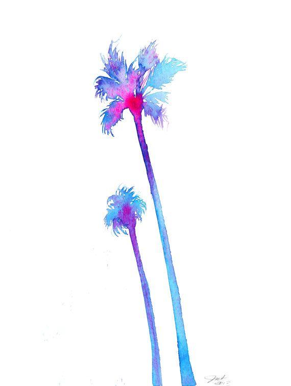 palm tree watercolor - photo #32