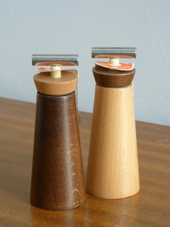 Marlux pair of wooden Pepper & Coarse Salt mills retro vintage    On ETSY  http://etsy.me/ZnDD7y