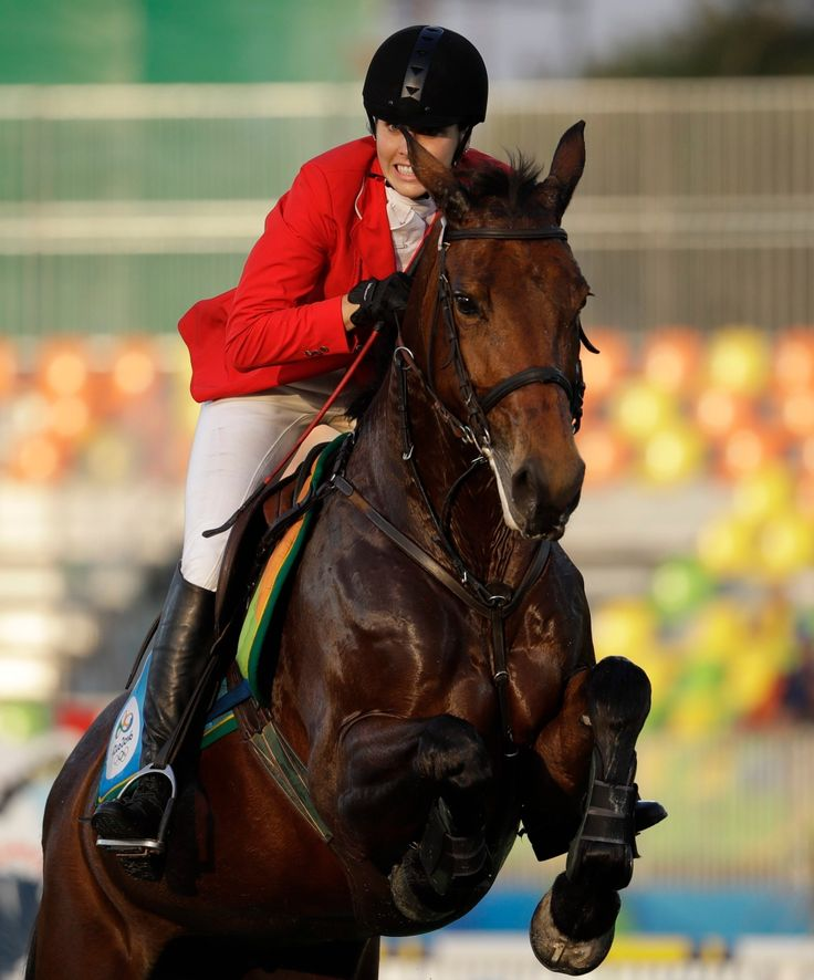 Melanie McCann of Canada competes at the equestrian section of the women's modern pentathlon at the Summer Olympics in Rio de Janeiro, Brazil, Friday, Aug. 19, 2016.(AP Photo/Natacha Pisarenko)