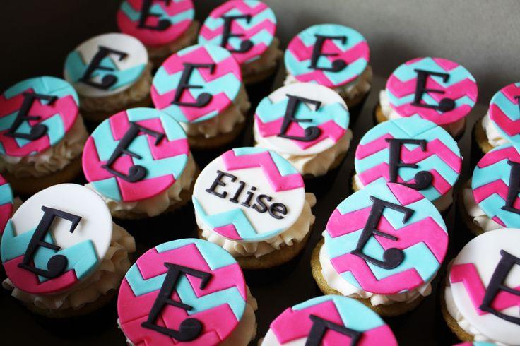 Chevron cupcake toppers.