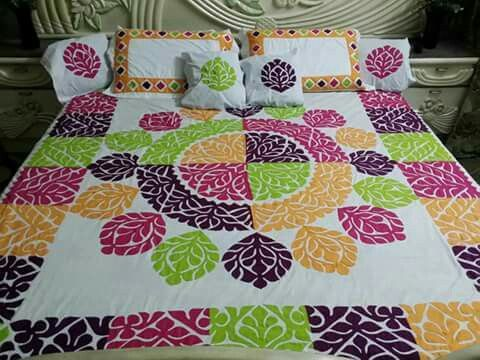 Handmade Applique Bedsheet Fabric: Pure Cotton. Piece : 7 piece set. Size : king Size. Price : 8000 PKR Make to order. Making time 35 to 40 days.For order confirmation please contact us or wattsapp us at 0092 3312080951