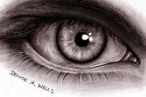 Scary Evil Eyes   Realistic Eye drawing by Denise A. Wells ...