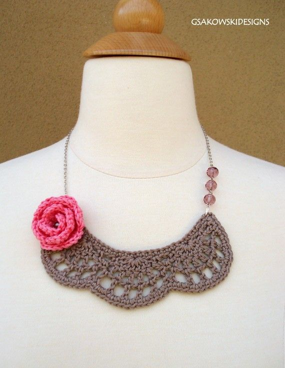Crochet Bib Necklace with Pink Rose