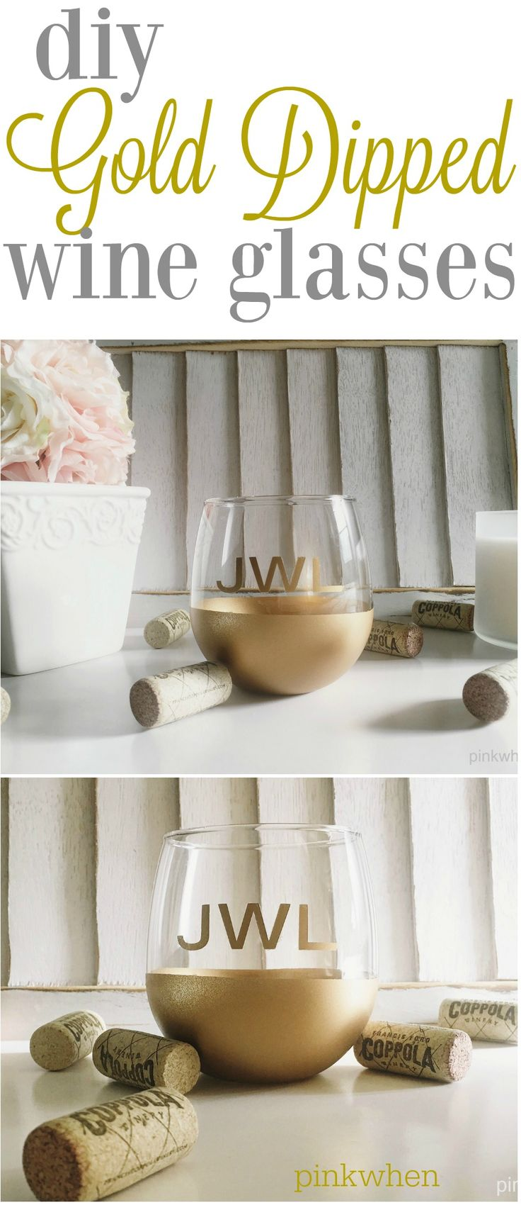 Grab some stemless wine glasses and create these gold dipped wine glasses with ease! Step by step instructions on how to make your own personalized glasses. Perfect for holidays and parties!